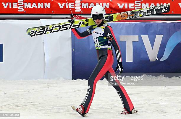 Irina Avvakumova of Russia looks on after second round of the FIS Women's Ski Jumping World Cup on March 02 2014 in Rasnov Romania