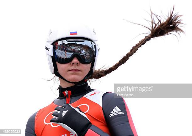 Irina Avvakumova of Russia prepares for her jump during the Ladies' Normal Hill Individual Ski Jumping training on day 2 of the Sochi 2014 Winter...