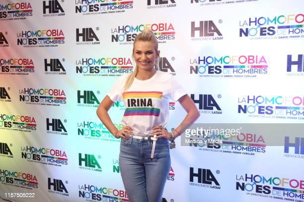 Irina Baeva poses for photos during the red carpet of the premiere of 'La Homofobia No Es Cosa De Hombre' at Coyoacan Theatre on June 21 2019 in...