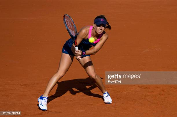 Irina Bara of Romania hits a backhand against Sofia Kenin of the United States in the third round of the women's singles at Roland Garros on October...