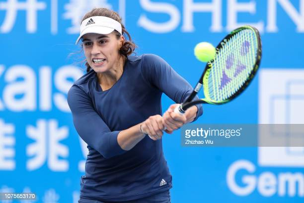Irina Bara of Romania in action against Ivana Jorovic of Serbia during 2019 WTA Shenzhen Open Qualifying at Shenzhen Longgang Sports Center on...