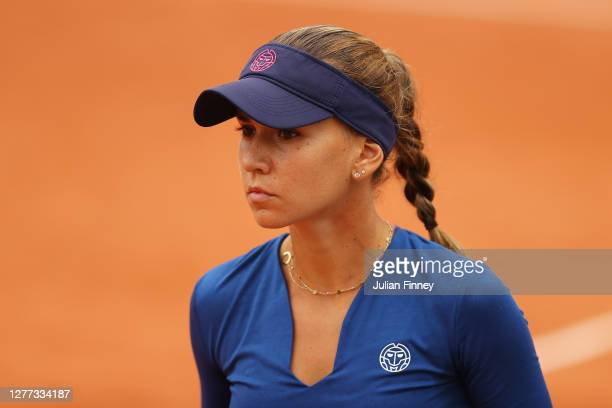 Irina Bara of Romania looks on during her Women's Singles first round match against Donna Vekic of Croatia on day three of the 2020 French Open at...