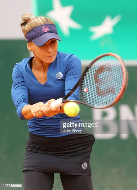 Irina Bara of Romania plays a backhand during her Women's Singles first round match against Donna Vekic of Croatia on day three of the 2020 French...