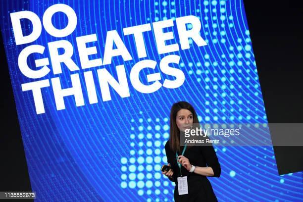 Irina Bock, Digital Sales Director of Kaspersky Lab speaks during the Kaspersky Lab European Strategic Session on March 11, 2019 in Split, Croatia.