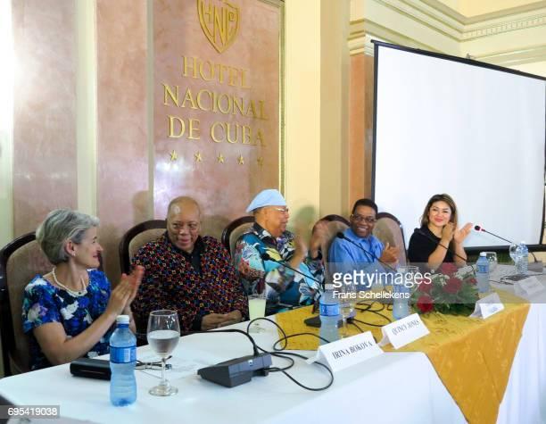 Irina Bokova and Quincy Jones Chucho Valdez and Herbie Hancock at World Jazz Day on April 29 2017 at the Hotel Nacional in Havana Cuba