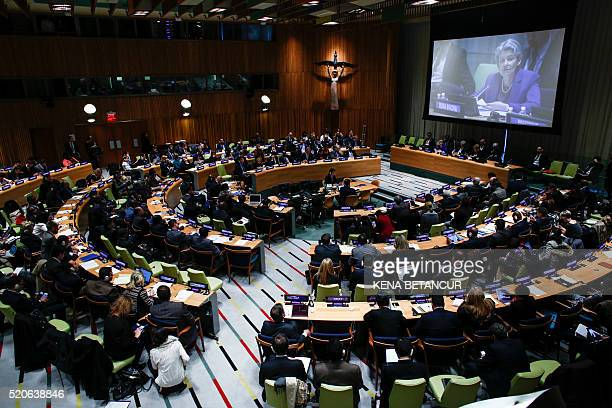 Irina Bokova DirectorGeneral of UNESCO speaks during the firstever hearings of candidates seeking to become the next secretarygeneral at UN...