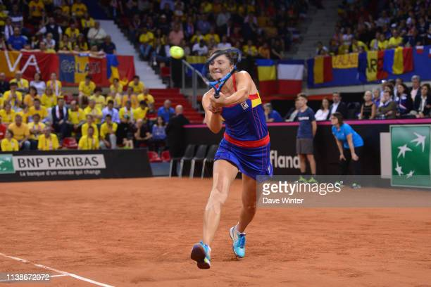 Irina Camelia Begu of Romania during the Fed Cup semifinal between France and Romania on April 21 2019 in Rouen France