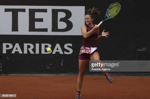 Irina Camelia of Romania in action against Dalila Jakupovic of Slovenia during the TEB BNP Paribas Istanbul Cup tennis match at Garanti Koza Park in...