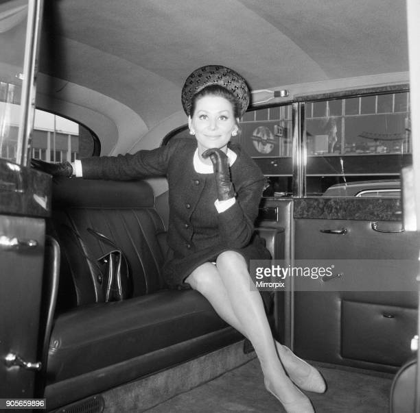 Irina Demick, french actress, in the UK for premiere of new film, Those Magnificent Men in their Flying Machines, in which she plays the multiple...