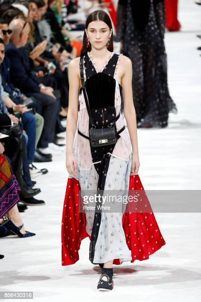 Irina Djuranovic walks the runway during the Valentino show as part of the Paris Fashion Week Womenswear Spring/Summer 2018 on October 1 2017 in...