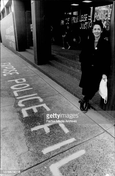 Irina Dunn of the Ananda Marga and CAADA stands in front of some of the Graffitti When I asked Irina Dunn if she knew who would have done the...