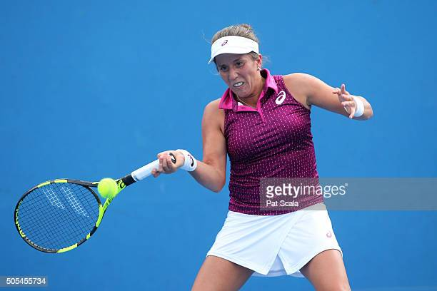 Irina Falconi of the United States plays a forehand in her first round match against Anna Tatishvili of the United States during day one of the 2016...