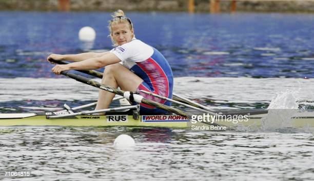 Irina Fedotova of Russia in action during her women's single sculls final during the Rowing World Cup at the Olympic Regatta course on May 27, 2006...