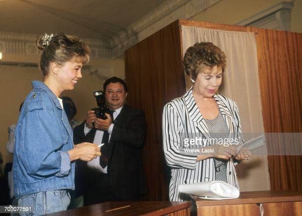 Irina Gorbacheva and Raisa Gorbacheva daughter and wife of Mikhail Gorbachev cast their votes during the first election of the President of the...