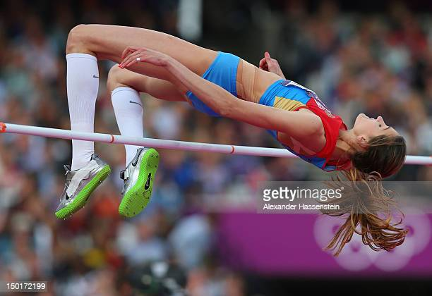 Irina Gordeeva of Russia competes during the Women's High Jump Final on Day 15 of the London 2012 Olympic Games at Olympic Stadium on August 11 2012...