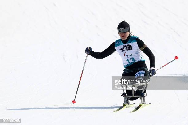 Irina Guliaeva of Neutral Paralympic Athlete during the Women's 6 km Sitting Biathlon competition at Alpensia Biathlon Centre on Day 1 of the...