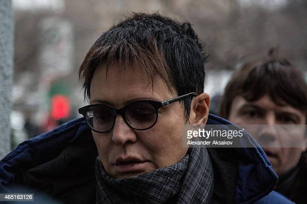 Irina Hakamada arrives before a farewell ceremony for Russian opposition leader Boris Nemtsov on March 3 2015 in Moscow Russia Nemtsov was murdered...