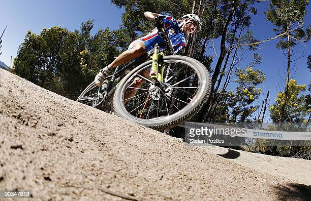 Irina Kalentieva of Russia in action in the women's elite cross country olympic race during the 2009 Mountain Bike World Trials World Championship...
