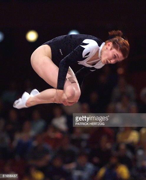 Irina Karavaeva of Russia performs in the trampoline final in the France Telecom international at the Palais Omnisports of ParisBercy 21 March...