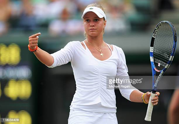 Irina Khromacheva of Russia reacts to a play during her final round Girls' match against Ashleigh Barty of Australia on Day Thirteen of the Wimbledon...