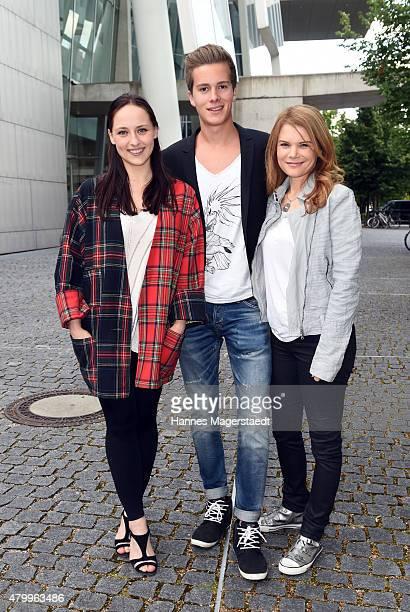 Irina Kurbanova Lucas Bauer and Silke Popp attend 'About a girl' German Premiere at ARRI Kino on July 8 2015 in Munich Germany