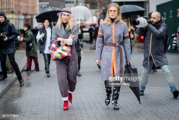 Irina Lakicevic and Annabel Rosendahl seen outside Tibi on February 11 2018 in New York City