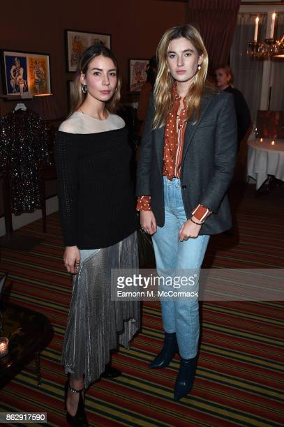 Irina Lakicevic and Camille Charriere at the Julia RestoinRoitfeld Christmas Edit for Warehouse launch at Mark's Club on October 18 2017 in London...
