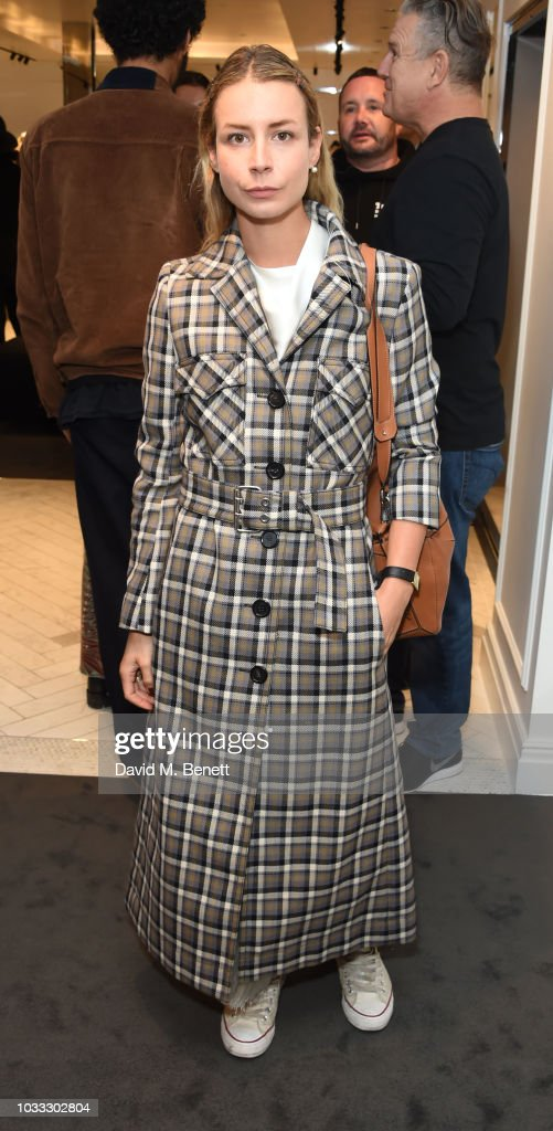 Irina Lakicevic attends the launch of the Nick Knight x Alyx Mackintosh limited edition coat during London Fashion Week September 2018 at the Mackintosh boutique on September 14, 2018 in London, England.