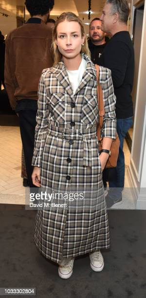 Irina Lakicevic attends the launch of the Nick Knight x Alyx Mackintosh limited edition coat during London Fashion Week September 2018 at the...