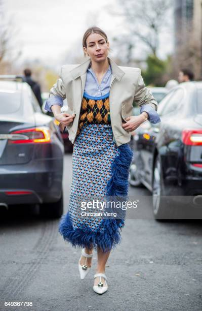 Irina Lakicevic outside Moncler on March 7 2017 in Paris France