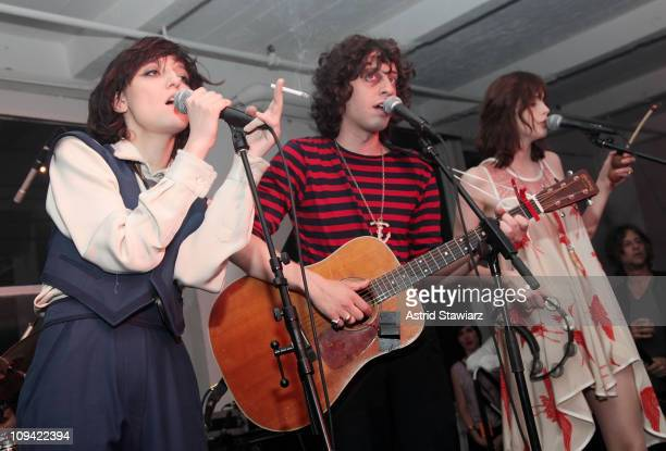 Irina Lazareanu, Adam Green and Charlotte Kemp Muhl attends the Corduroy Magazine launch & exhibition presented by We Work at Milk Gallery on June...