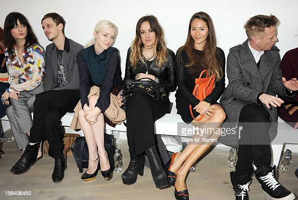 Irina Lazareanu guest Portia Freeman Jess Mills Jessica Michibata and Angus Munro sit in the front row at the Pringle Of Scotland Autumn/Winter 2012...