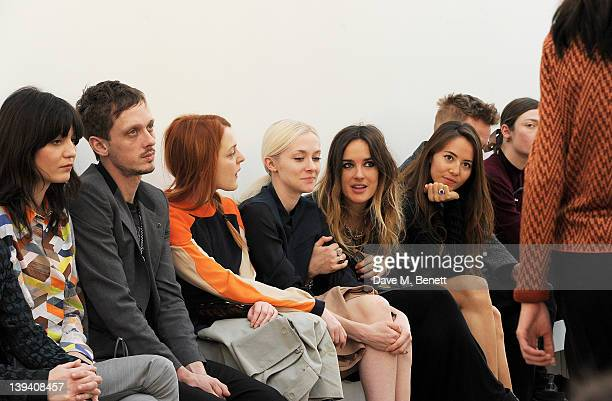 Irina Lazareanu guests Portia Freeman Jess Mills Jessica Michibata and Angus Munro sit in the front row at the Pringle Of Scotland Autumn/Winter 2012...