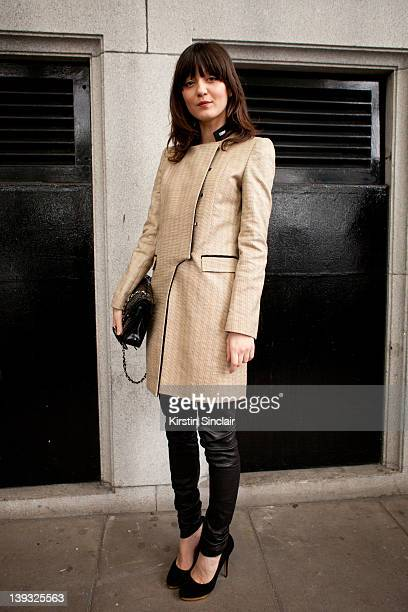 Irina lazareanu wearing an Aquascutum jacket Chanel bag Charlotte Olympia shoes street style at London fashion week autumn/winter 2012 womenswear...