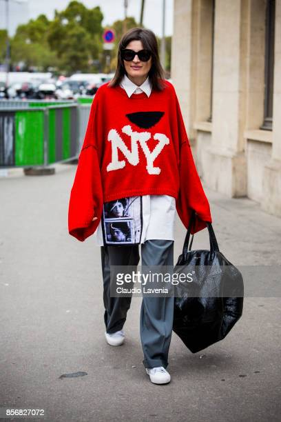 Irina Linovich is seen before the Giambattista Valli show during Paris Fashion Week Womenswear SS18 on October 2 2017 in Paris France