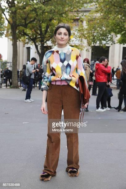 Irina Linovich seen during Paris Fashion Week Womenswear Spring/Summer 2018 on October 3 2017 in Paris France