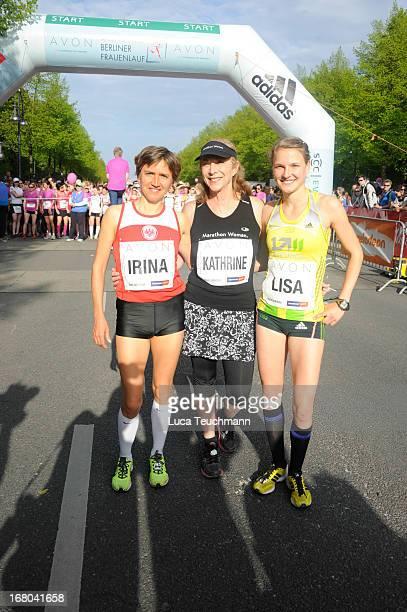 Irina Mikitenko Kathrine Switzer and Lisa Hahner attend the 30th AVON Running Women's run in Tiergarten park on May 4 in Berlin Germany