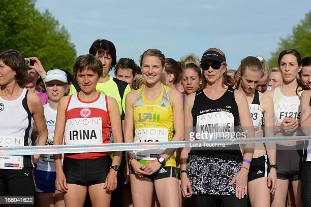 Irina Mikitenko Lisa Hahner and Kathrine Switzer attend the 30th AVON Running Women's run in Tiergarten park on May 4 in Berlin Germany