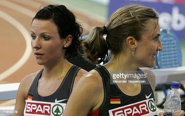 Irina Mikitenko of Germany and Sabrina Mockenhaupt look despondent following the Women's 10000 Metres Final on day one of the 19th European Athletics...