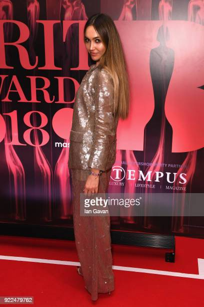 Irina Ostroukhova attends the BRITS official aftershow party in partnership with Tempus Magazine at the Intercontinental London The O2 on February 21...