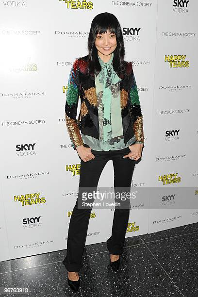 Irina Pantaeva attends a screening of Happy Tears hosted by the Cinema Society and Donna Karan at The Museum of Modern Art on February 16 2010 in New...