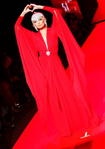 Irina Pantaeva walks at the Go Red for Women Red Dress Collection during the Mercedes-Benz Fall/Wint
