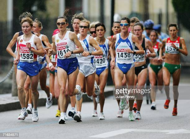Irina Permitina of Russia leads the group during the Women's Marathon on day six of the 19th European Athletics Championships at the Ullevi Stadium...