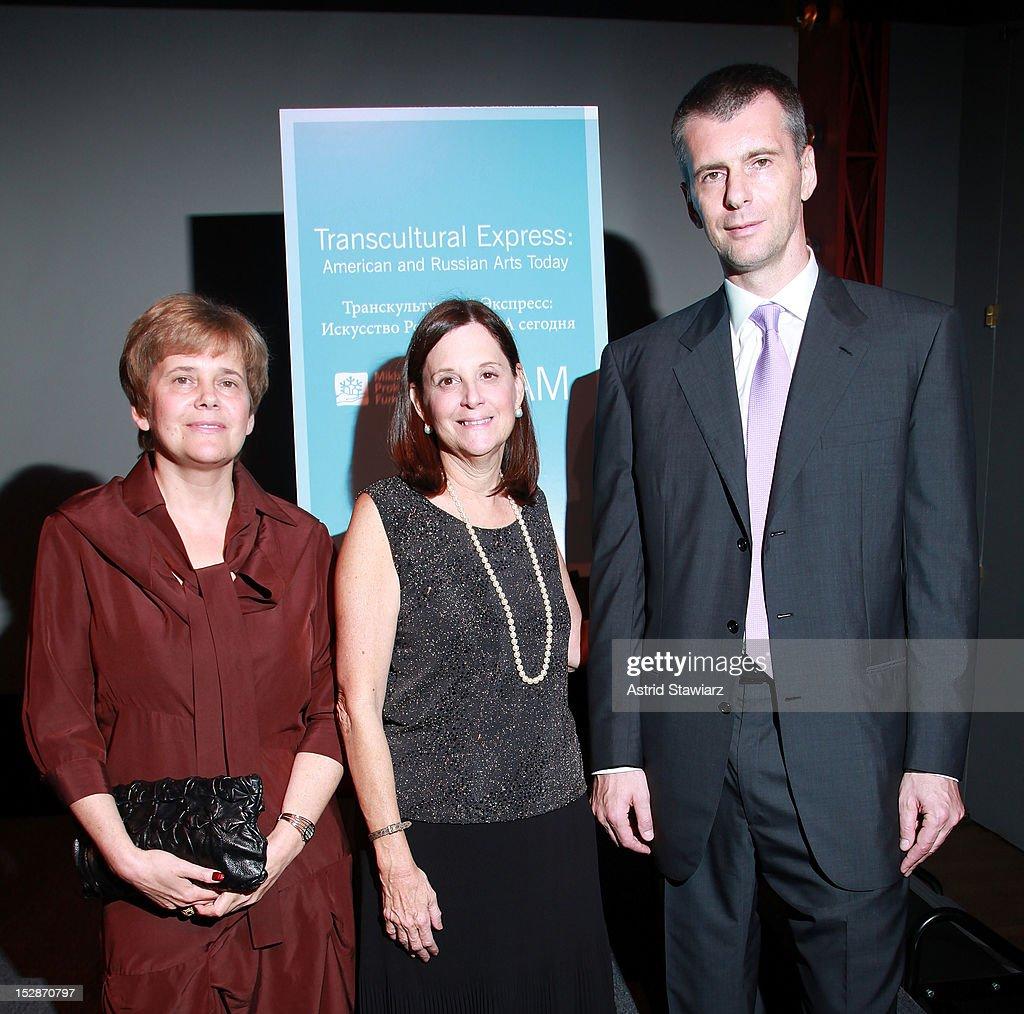 Irina Prokhorov, BAM president Karen Brooks Hopkins and Mikhail Prokhorov attend BAM 30th Next Wave Gala at Skylight One Hanson on September 27, 2012 in New York City.