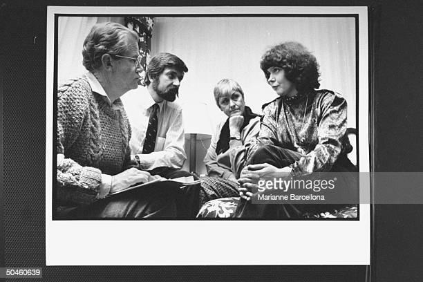Irina Ratushinskaya Russian emigre poet human rights activist sitting w her Amer father Henry Holt husband Igor Gerashchenko Henry's wife Sonja...