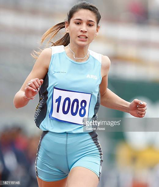 Irina Rodriguez of Argentina competes in Women's 200 m event as part of the I ODESUR South American Youth Games at Estadio Miguel Grau on September...