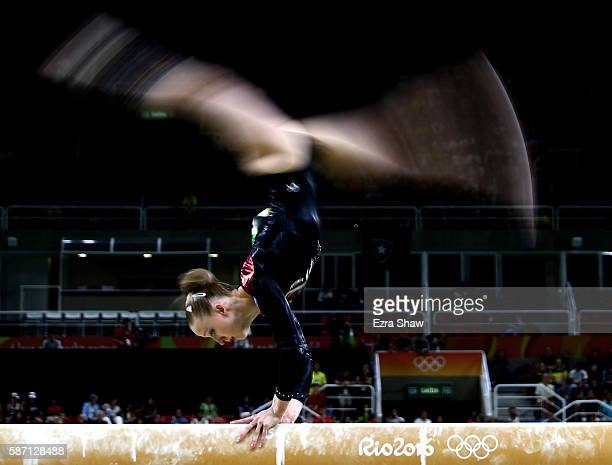 Irina Sazonova of Iceland competes on the balance beam during Women's qualification for Artistic Gymnastics on Day 2 of the Rio 2016 Olympic Games at...