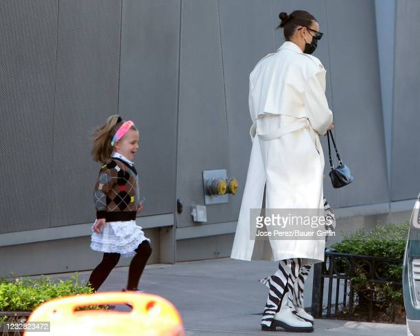 Irina Shayk and her daughter Lea Cooper are seen on May 11, 2021 in New York City.