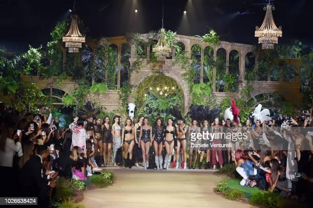 Irina Shayk and Irina Shayk walks the runway of the Intimissimi Show on September 4 2018 in Verona Italy