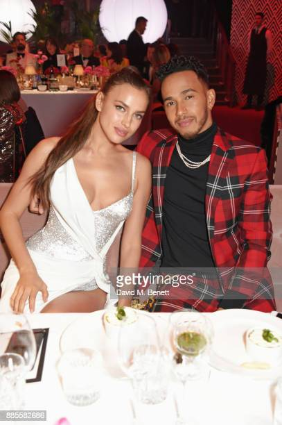 Irina Shayk and Lewis Hamilton attend a drinks reception ahead of The Fashion Awards 2017 in partnership with Swarovski at Royal Albert Hall on...